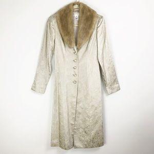 White House Black Market Brocade Faux Fur XS